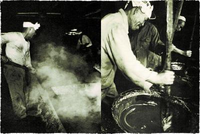 馬を使った昔のサトウキビ搾汁の様子