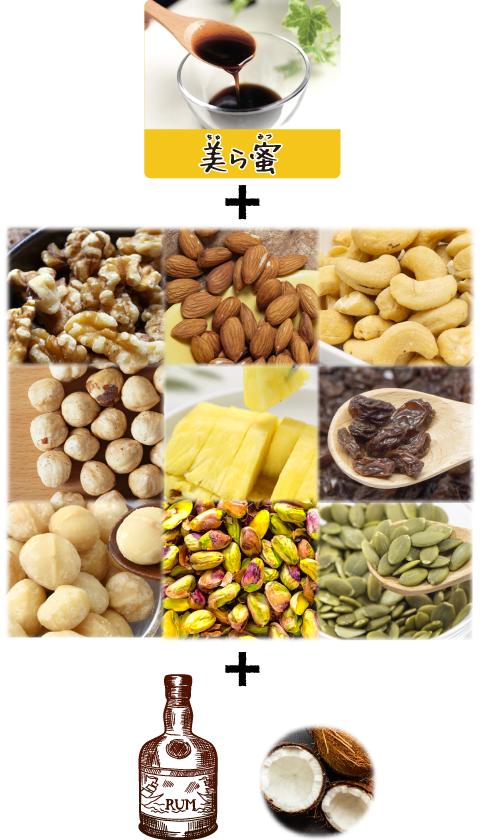 スマホ用:美ら蜜ナッツ&フルーツポットの材料写真